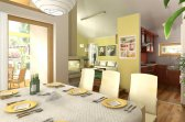 Vizualizace projektu bungalovu Uno 1 - možné řešení interiéru